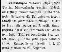 Aamulehdessä 23.4.1907 julkaistu uutinen Peltoniemen talon kaupasta.  Lähde: Historiallinen sanomalehtikirjasto